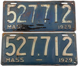 1929 Massachusetts antique car license plates in very good minus condition