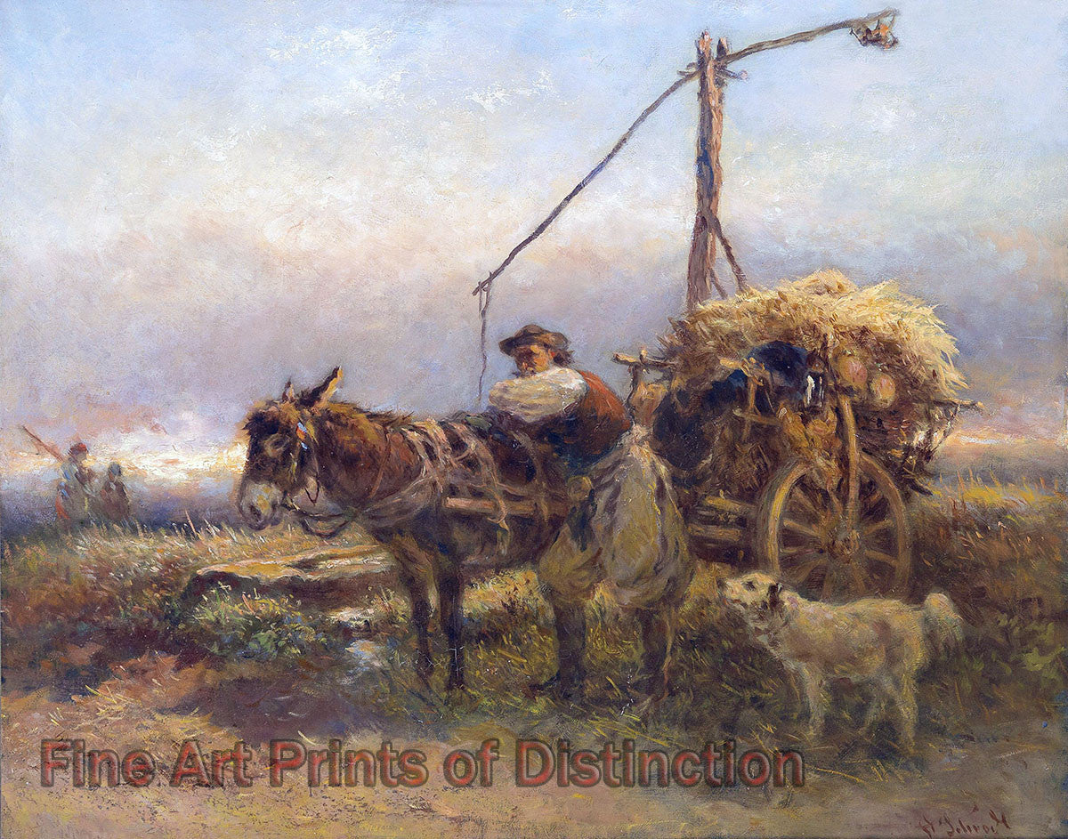Donkey and Cart by Anton Schrodl
