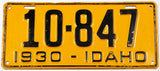 1930 Idaho license plate in very good plus condition