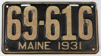 An antique 1931 Maine car license plate in very good condition