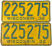1932 Wisconsin car license plates in very good minus condition with 2 extra holes