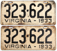 An antique pair of 1933 Virginia car license plates in very good minus condition