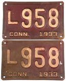 1933 Connecticut car license plates in very good minus condition