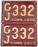 1933 Connecticut car license plates in very good condition