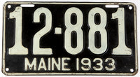 An antique 1933 Maine car license plate in very good plus condition
