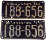 1933 Wisconsin car license plates in very good condition with 2 extra holes