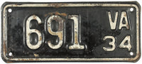 1934 Virginia Motorcycle License Plate DMV #691
