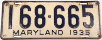 An antique 1935 Maryland Passenger Car License Plate grading very good
