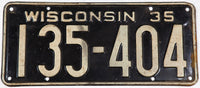 1935 Wisconsin license plate for a passenger automobile grading very good