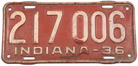 1936 Indiana car license plate in very good minus condition