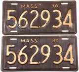 1936 Massachusetts license plates in very good minus condition with 1 extra hole