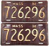 1936 Massachusetts automobile license plates in very good minus condition