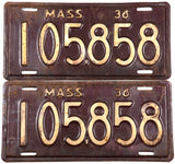 1936 Massachusetts car license plates in very good minus condition