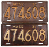 1936 Massachusetts license plates in very good minus condition
