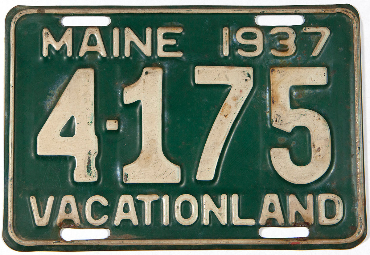 "An antique 1937 Maine  'shortie"" car license plate in very good condition"