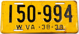 An antique 1938 - 39 West Virginia automobile license plate in very good condition