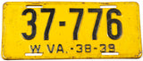 An antique 1938 - 39 West Virginia car license plate in very good condition