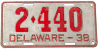 An antique 1938 Delaware passenger car license plate in very good condition