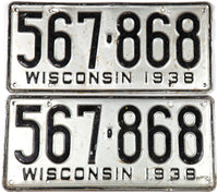 1938 Wisconsin car license plates in very good condition wtih extra holes