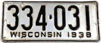 1938 Wisconsin license plate for a passenger automobile grading very good