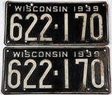 1939 Wisconsin License Plates in very good minus condition with 1 extra hole
