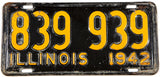 A 1942 Illinois car license plate in very good minus condition