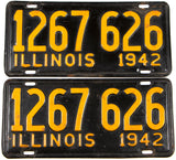 A pair of 1942 Illinois car license plates in very good condition with the original wrapper