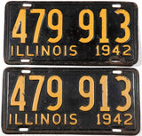 1942 Illinois car license plates in very good minus condition