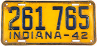 1942 Indiana classic car license plate in very good condition