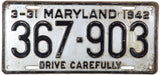 1942 Maryland License plate