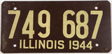 A 1944 Illinois car license plate in very good plus condition with very small tack holes