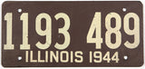 An antique 1944 Illinois car license plate in very good plus condition