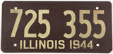A 1944 Illinois car license plate in very good condition
