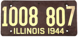 1944 Illinois car license plate in very good condition