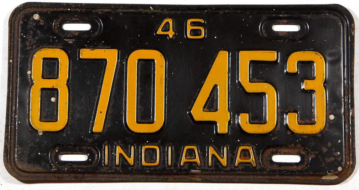 An antique 1946 Indiana car license plate in very good minus condition