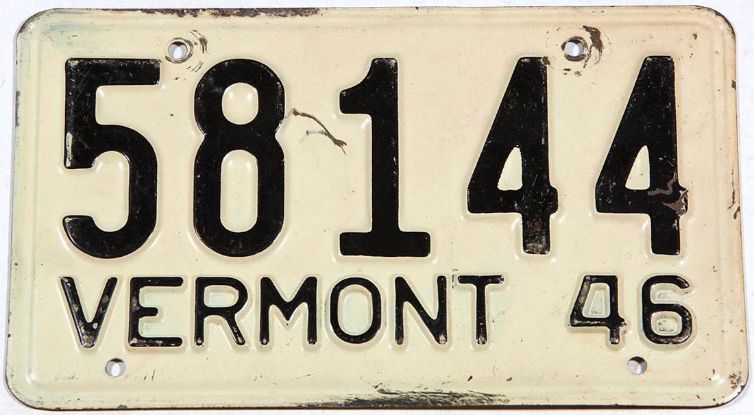 An antique 1946 Vermont car license plate in very good condition