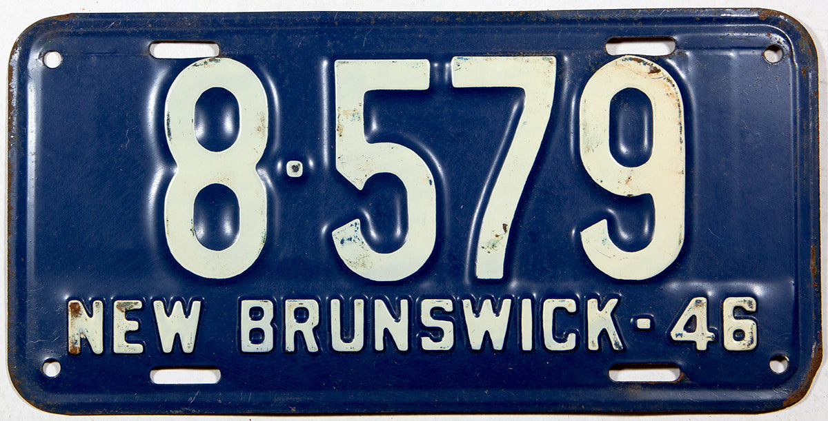 An antique 1946 New Brunswick passenger car license plate for sale at Brandywine General Store in very good plus condition