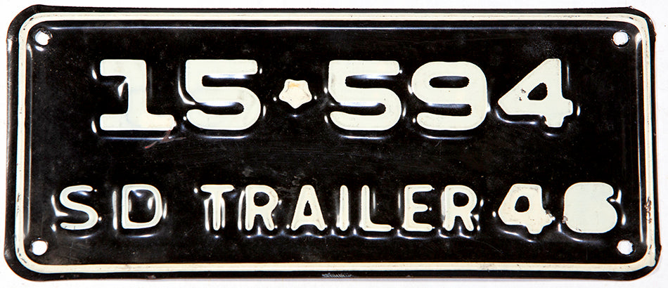 An antique 1946 South Dakota trailer license plate in New Old Stock excellent condition
