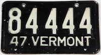 An antique 1947 Vermont car license plate in very good condition