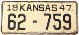 An antique 1947 Kansas passenger car license plate in very good minus condition