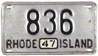 1947 Rhode Island passenger car license plate