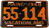 A rare 1948 brass Maine car license plate in excellent minus condition with a small hole