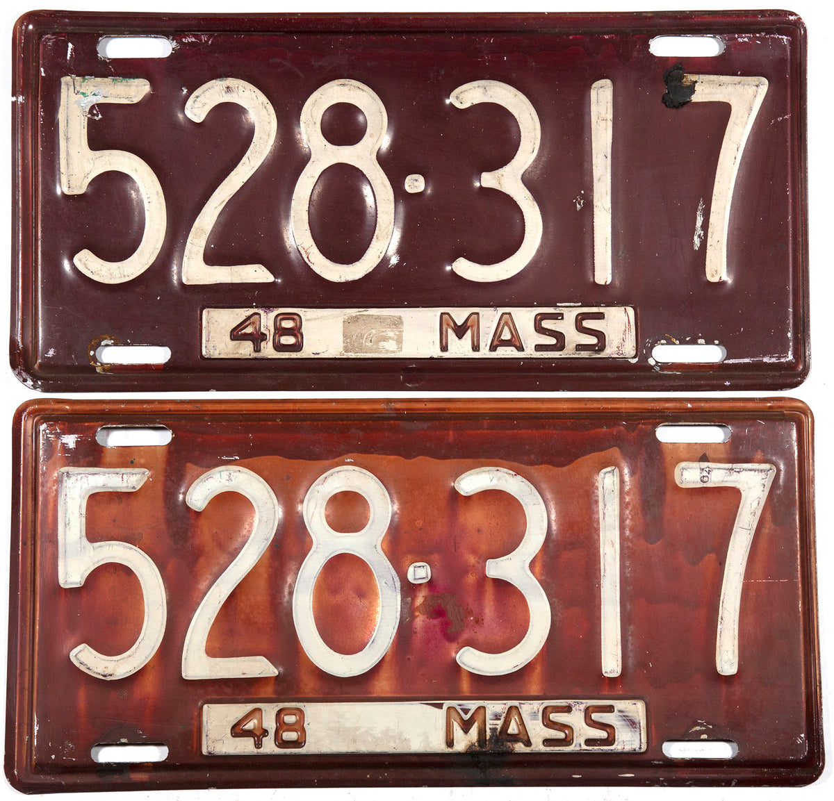 1948 pair of Massachusetts car license plates in very good minus condition