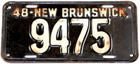 An antique 1948 New Brunswick passenger car license plate in very good condition for sale at Brandywine General Store