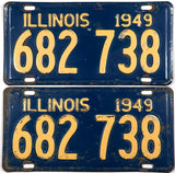 1949 Illinois passenger car license plates in very good minus condition