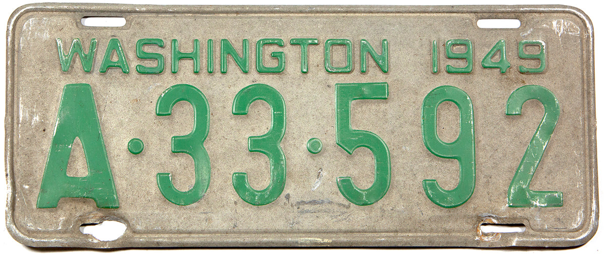An antique 1949 Washington passenger car license plate in good plus condition