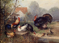 Chicken Flock and a Turkey by Julius Scheuerer