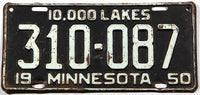 An antique 1950 Minnesota car license plate in very good minus condition