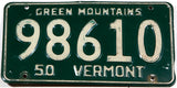 A classic 1950 Vermont car license plate in very good condition