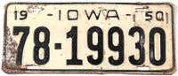 A vintage 1950 Iowa passenger car license plate in very good minus condition